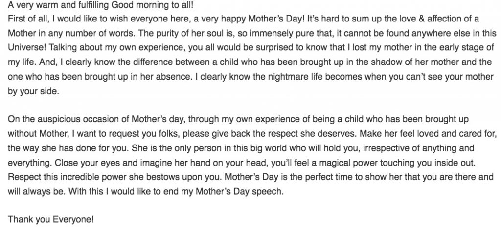 Speech Of Mothers Day